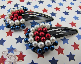Liberty Pearl Fan Snap Clips, 1 pair, 4th of July, pearl barrettes for girls, hair accessories, patriotic, military inspired - reynared