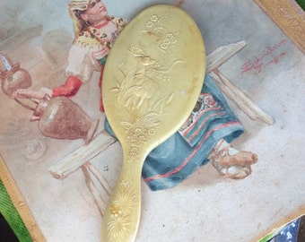 Beat To Hell But Still Lovely Vintage Celluloid Deer Hand Mirror