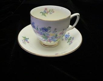 """Vintage Duchess Bone China """"For Get me Not"""" and Pink Floral Cup and Saucer"""