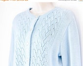 MOVING SALE Vintage cardigan, light blue pointelle knit button down sweater, Highpoint