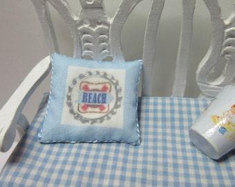 Dollshouse Miniatures. Cushion Pillow. Beach.