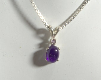 Amethyst Cabochon Pendant with Pink Sapphire Accent