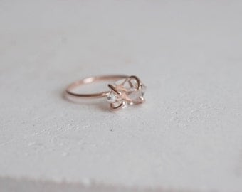 Herkimer Diamond Solitaire Ring Solid 14k Recycled Rose Gold | Herkimer Diamond Prong Set Ring | 14k Rose Gold