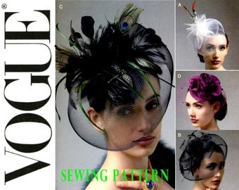 Fascinator Hats Pattern Vogue V8868 Womens Millinery Sewing Pattern Crinoline Feather Rosette Netting Uncut Bridal Headpiece Birdcage Veils