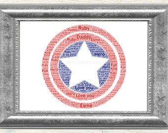 Captain America Personalised Gift Christmas Birthday Print Only Word Art Picture with words