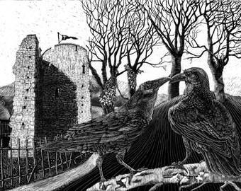 Ravens at the Tower Art Print of Scraperboard Original