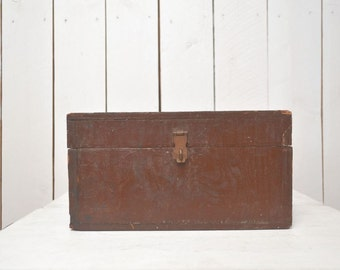 Wood Lock Box Vintage Rustic Paint Tool Supply Box 1960s
