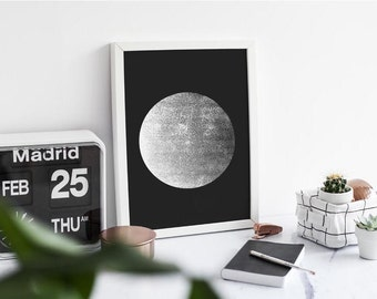 Moon Print in black- A3