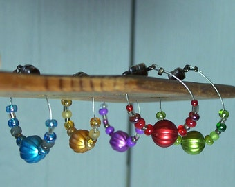 Wine Glass Charms, Set of Five Beaded Stemware Charms, Magnetic Clasp Closure