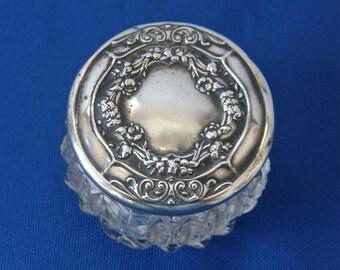 STERLING & CUT GLASS Ladies Dresser Jar Art Nouveau Floral Wreath Design Cut Glass Jar Vintage Toiletries Cold Cream American Silver 1920's