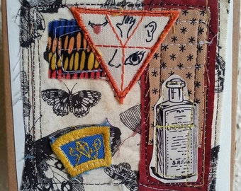 SENSES fabric paper collage patches fiber mixed media stitching butterflies