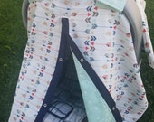 Carseat Canopy Arrow Mint Triangle..Can also be used as a Nursing Cover