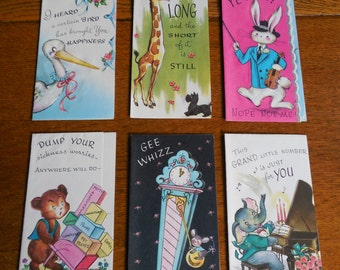 Adorable Lot of 6-- Unused Vintage Greeting Cards Animals
