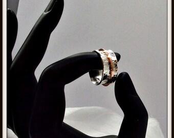 Meditation fidget spinner ring Artisan  Sterling silver 14 K Pink Gold filled 14/20