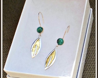OOAK Artisan earrings keumboo Leaf  fine silver .999  24K yellow Gold  Malachite 14/20 Gold filled findings