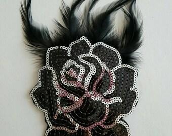 Black Sequins Flower Applique - Flower Applique