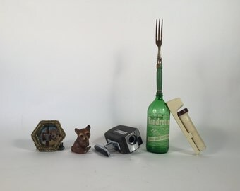 The Photographer Who Has Everything Collection: Vintage Super 8 Video Camera 8mm Camera Flashlight meat fork ceramic bear