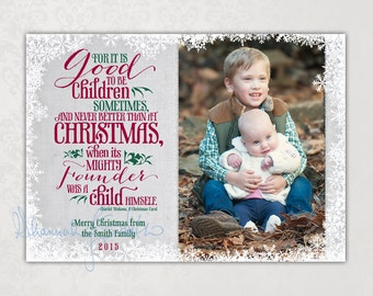 Family Photo Christmas Card • Personalized Print Your Own Holiday Card • Inspirational Photo Card Card • Charles Dickens Quote