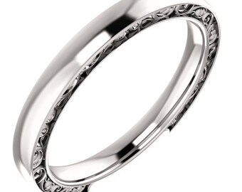 Sculptural-Style Pattern Wedding Band in 14k White Gold ST62549