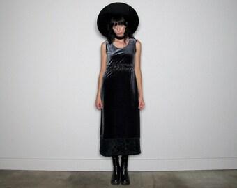90s SILVER VELVET Maxi Dress Cut Out Long Dress Womens Size M