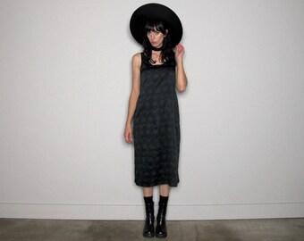 Black 90s Maxi DRESS FLORAL Goth Long Dress Vintage Size M