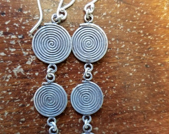 Spiral, Spiral Earrings, Tribal, Spirals, Magic Spiral,Positive Energy, Spiral Earrings, Sterling Silver, Three Spirals, Goddess Jewelry