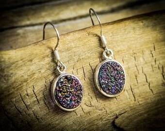 Druzy, Druzy Earrings, Silver Druzy Earrings, Colorful Earrings,Druzy Jewelry,Sterling Silver Druzy,Silver Jewelry,gift,Wild Colors, Dangles