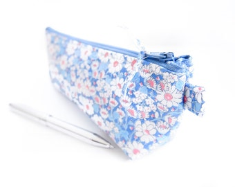 Liberty of London Oilcloth Pencil Case / Makeup Pouch - Blue Daisies