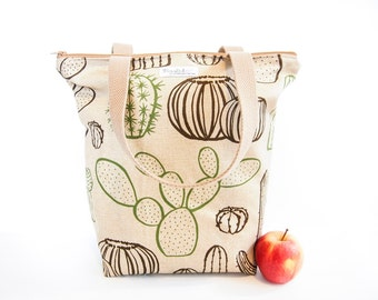 SALE - 30% OFF: Zippered Tote Shopping Bag - Cactus / Cacti (Natural / Beige)