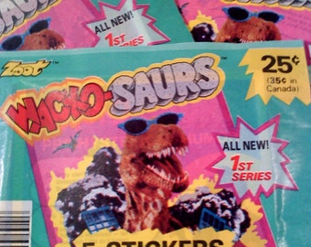 Wacko Saurs Dinosaurs Trading Card Stickers, Set of 3