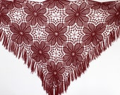 Burgundy Shawl,   Extra large Crocheted  shawl, Burgundy Crochet Shawl  wrap