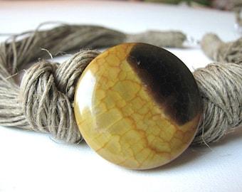 Dragon Agate- linen necklace