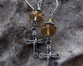 Amber faceted glass silver cross dangle earrings, ready to ship
