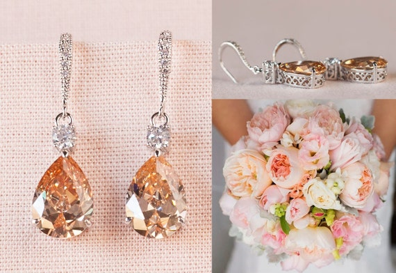 Crystal Bridal Earrings, Champagne Wedding Earrings, Gold Bridesmaid jewelry, Gold Drop Earrings, Gold Lilliana
