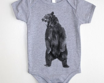 Angry Bear Baby Onesie - American Apparel Baby Outfit - Available in 3-6MO, 6-12MO, 12-18MO