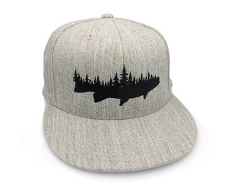 Men's Baseball Cap - Fish and Forest - Men's/Unisex Embroidered Cap - Fitted and Snapback Options Available - 2 Color Options