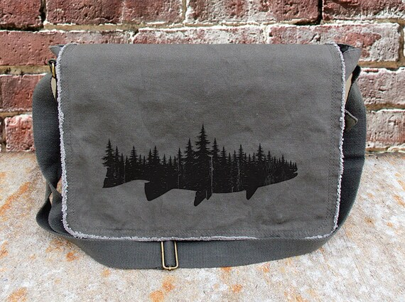 Messenger Bag - Fish and Forest - Cotton Canvas Messenger Bag