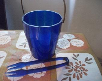 vintage PORTUGUESE blue melamine and brass ICE BUCKET and tongs barware