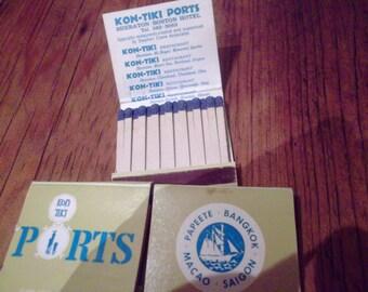 kon tiki ports match books ,Tiki bar,1960s Polynesian bar,sheraton hotels, macao, saigon,bangkok, papeete