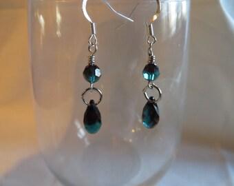 Burgundy Blue Drop Earrings