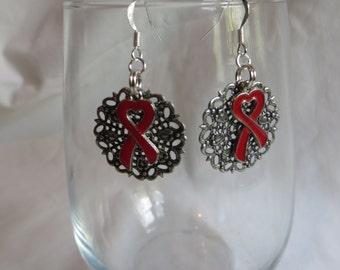 Red Ribbon Awareness Earrings, earrings, red, ribbon, awareness