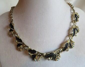 """16"""" Vintage Gold Choker Necklace, vintage, choker, gold, black, leaves"""