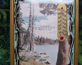 Nice Vintage 1940's Picture, Advertising with Thermometer,Lake Scene, ND