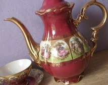 Vintage Love Story teapot, Bavaria teapot, Germany teapot, Porcelain teapot, Fragonard teapot, Red teapot, French Shabby chic teapot,