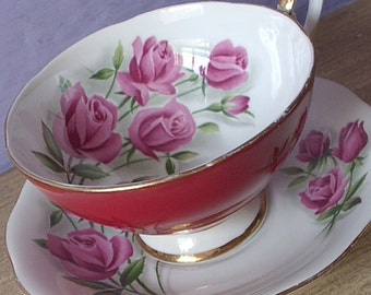 Vintage English Roses teacup and saucer, Royal Standard red tea cup, Pink roses tea cup, Bone china teacup, 20th Anniversary gift