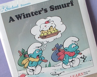 Vintage A Winter's Smurf Read Along book and record, 1983, still SEALED, 33 1/3 RPM lp, Cartoon characters, Smurf Collectible comic book