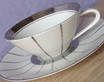 Vintage 1950's Mid Century Modern teacup and saucer, Selb Bavaria teacup, German teacup, Silver tea cup, Retro atomic age gift, art deco tea