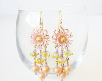 Pastel Flower Power Earrings, long Beaded Dangles, Retro style, Pink flowers, Polka Dots, Pale pink & Yellow,Fairy Kei, Upcycled vintage