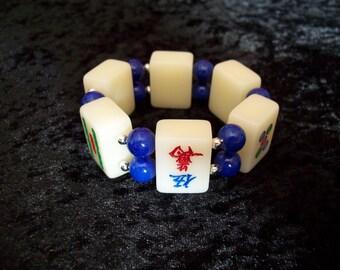 1940s 1950s Vintage style Mahjong Bracelet Bangle - BLUE