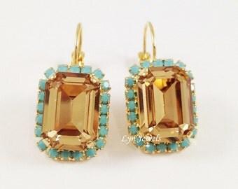Champagne Gold Turquoise Rhinestone Earrings - Swarovski Crystal Light Colorado Topaz Octagon Earrings Gold Leverback Rectangular Earrings